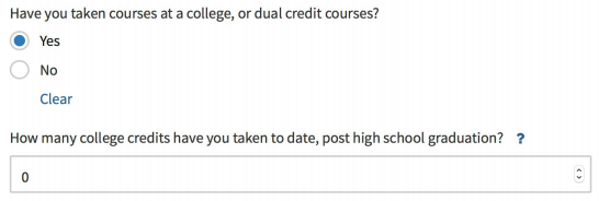 Indicate any college credits.